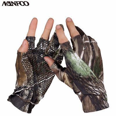 Camo Hunting Fishing Elastic Antiskid Half Finger Gloves for Summer Y