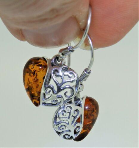 925 Sterling Silver Heart Cabochon  Cognac Amber Dropper Drop Stud Earrings