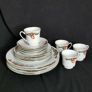 Poinsettia-amp-Ribbons-Christmas-Fine-China-Dinnerware-Set-16-Pieces-Service-4