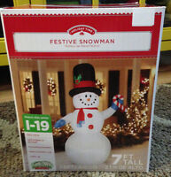 7ft Giant Outdoor Yard Decor Airblown Inflatable Snowman W/ Candy Canechristmas