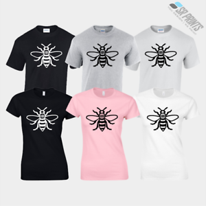 MANCHESTER-BEE-T-SHIRTS-UNISEX-TEES-LADIES-FITTED-TOPS