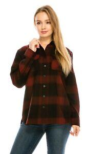 YAGO-Women-039-s-Plaid-Flannel-Button-Down-Casual-Shirt-Black-Red-5F-S-2XL