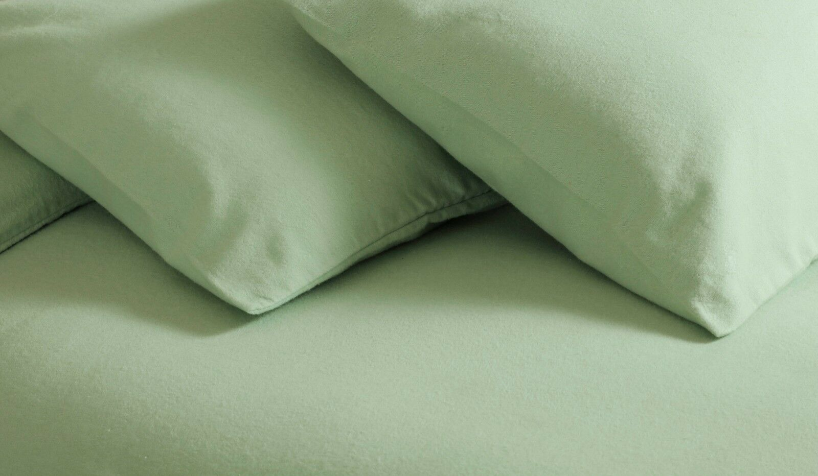 100% Brushed Cotton Plain Flannelette King Größe Duvet Cover Set in Apple Grün