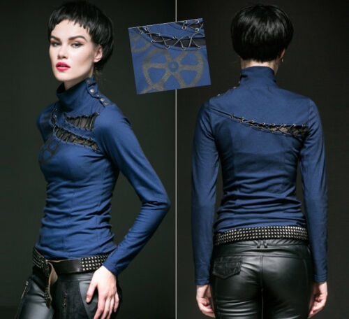 Top haut gothique punk lolita steampunk vintage retro laçage rouage Punkrave B