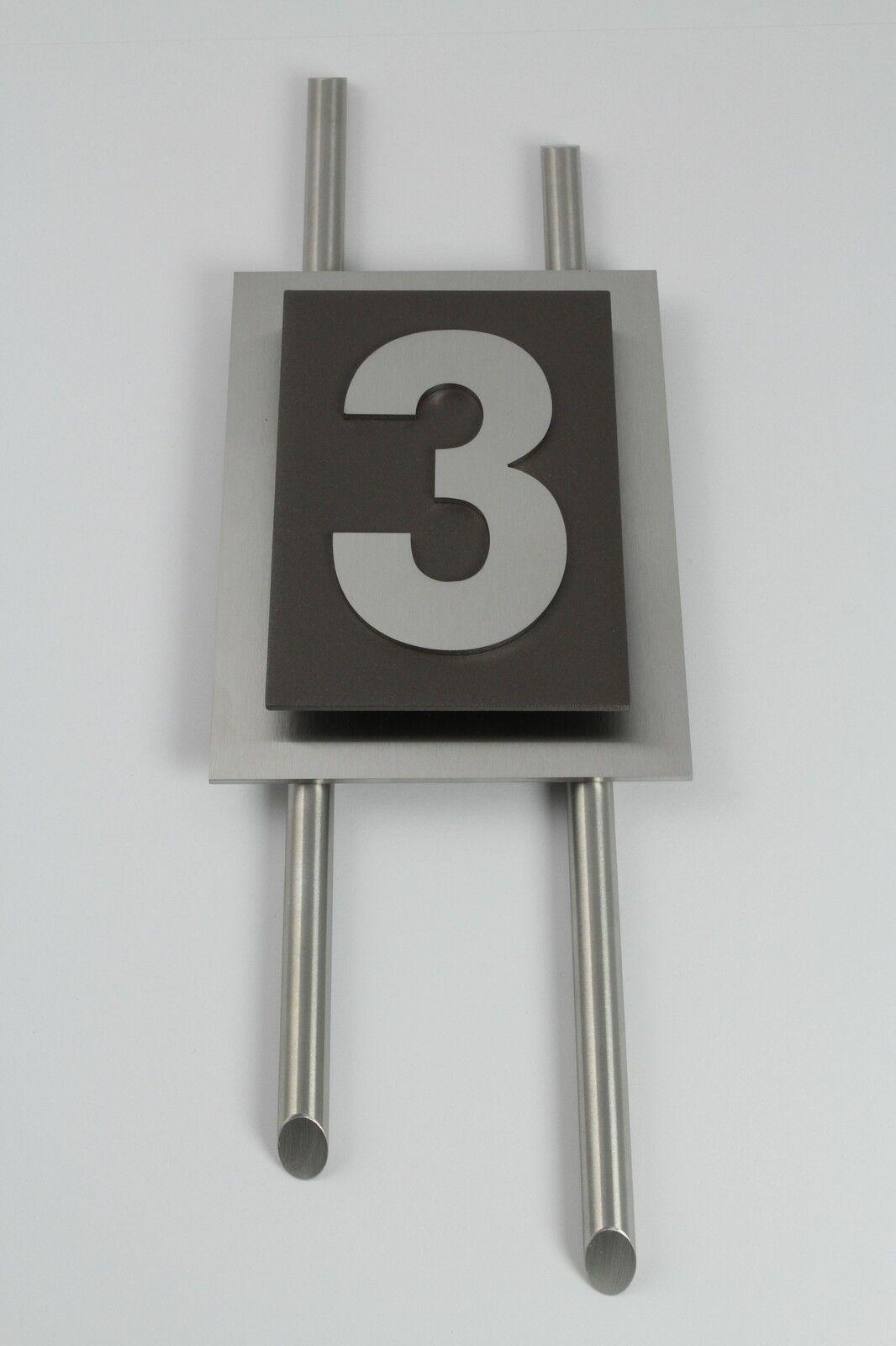 Hausnummer Edelstahl Sepia grau Design Verona 1-stellig Zahl 1-9 mit Zierstangen
