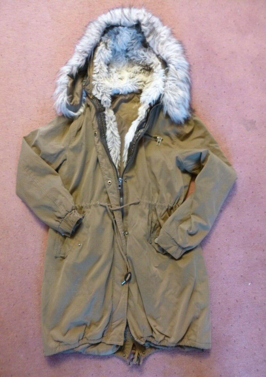 Brown Beige Parka Jacket, Fur Lined Hood, Atmosphere Size 12