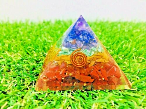 1.5-2 Inch Seven Chakra Gemstone Orgone Pyramid For EMF Protection Size