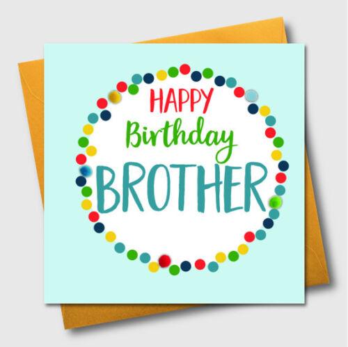 Joyeux Anniversaire Carte De Vœux frère en Pointillé Pois Luxe Embelli Pompon UK