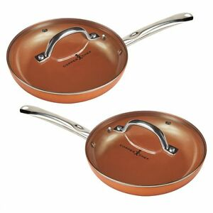 Copper Chef 10 Quot Round Pan With Lid 2 Pack Nonstick Saute
