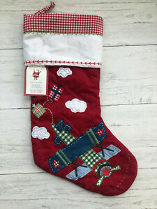 Pottery Barn Red Quilted Christmas Stocking Airplane
