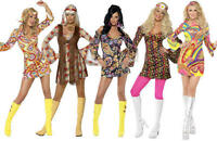 Groovy Hippy Girls Ladies Fancy Dress 1960s-1970s Hippie Retro Mini Costume 8-18