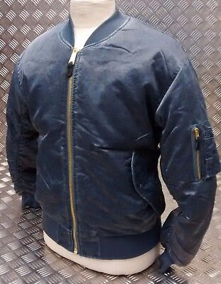 Ma1 Us Stile Militare Bomber Mod/scooter/bikers Blue Stone Washed-nuovo-kers Blue Stone Washed - New It-it