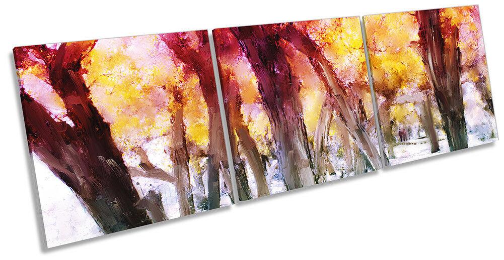 Sunset Bosque Paisaje Naranja imagen LONA pared Triple arte impresión Triple pared 78fa37