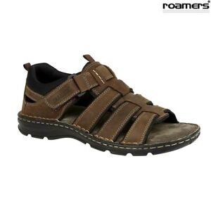 Mens-Leather-Sandals-Brown-Roamers-Open-Toe-Size-6-7-8-9-10-11-12-UK