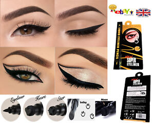 Details about New 2in1 Black Waterproof Pen Liquid Eyeliner with Stamp  Tattoo in 4 Shape