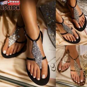 Boho Women Floral Sandals Ladies Summer Slippers Flip Flops Flat Shoes Size 4-7