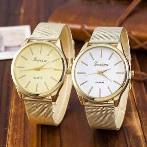 079bf9fe7f7a Women s Watch Geneva Stainless Steel Mesh Golden Wrist Watch Analog ...