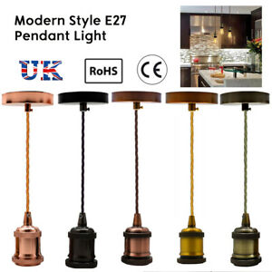 UK-Light-Pendant-Fitting-Ceiling-Rose-E27-Suspension-Set-Fabric-Corded-5-Colours