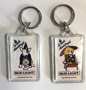 Vintage-1987-Spuds-Mckenzie-Key-Chain-Bud-Light-Beer-Dog-Anheuser-Busch-Ring-Lot