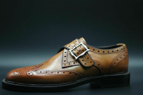 Mens Handmade Shoes Tan Leather Single Monk Oxford Brogue Wingtip Formal Boots