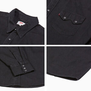 Levis-Casual-Denim-Black-Sawtooth-Western-Levi-039-s-Shirt-0098