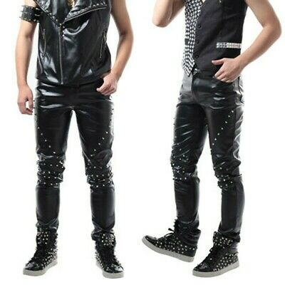 Mens Punk Straight faux Leather Pants Spike Studded Pant Party Trousers SZ 27-38