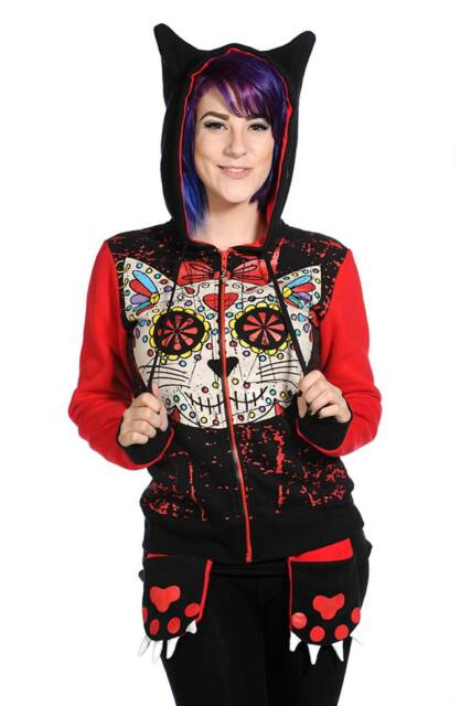 SUGAR Skull Kitty Cat Warm Winter Mitten Hoodie Banned Goth Punk Rock Hooded Top