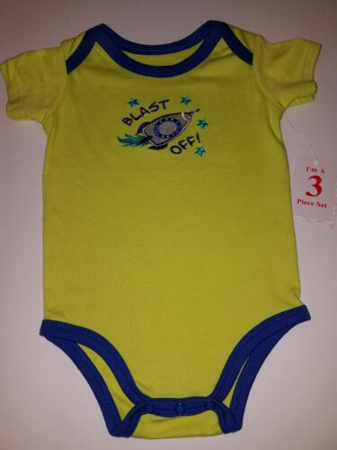 NWT INFANT BOY 3 PC SUMMER OUTFIT SWIGGLES BLAST OFF ROCKETS ROBOTS GREEN /& BLUE