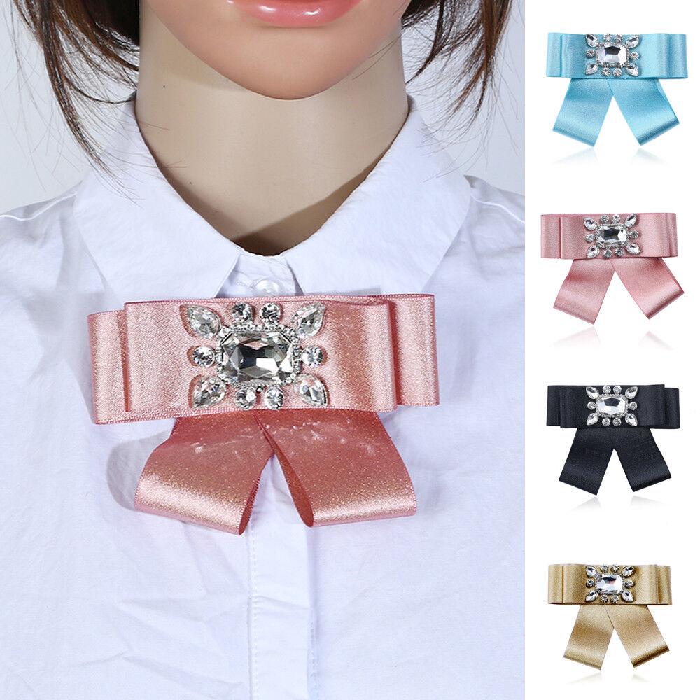 Women Rhinestone Solid Color Bow Tie Accessories Party Staff Adjustable Necktie