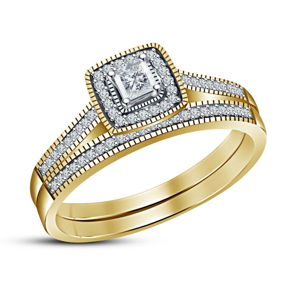 Princess D VVS1 Diamond Women's Engagement Bridal Ring Set 14K Yellow gold Over