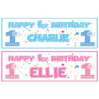 2 PERSONALISED HAPPY 1st BIRTHDAY BANNERS - BOY OR GIRL - FIRST