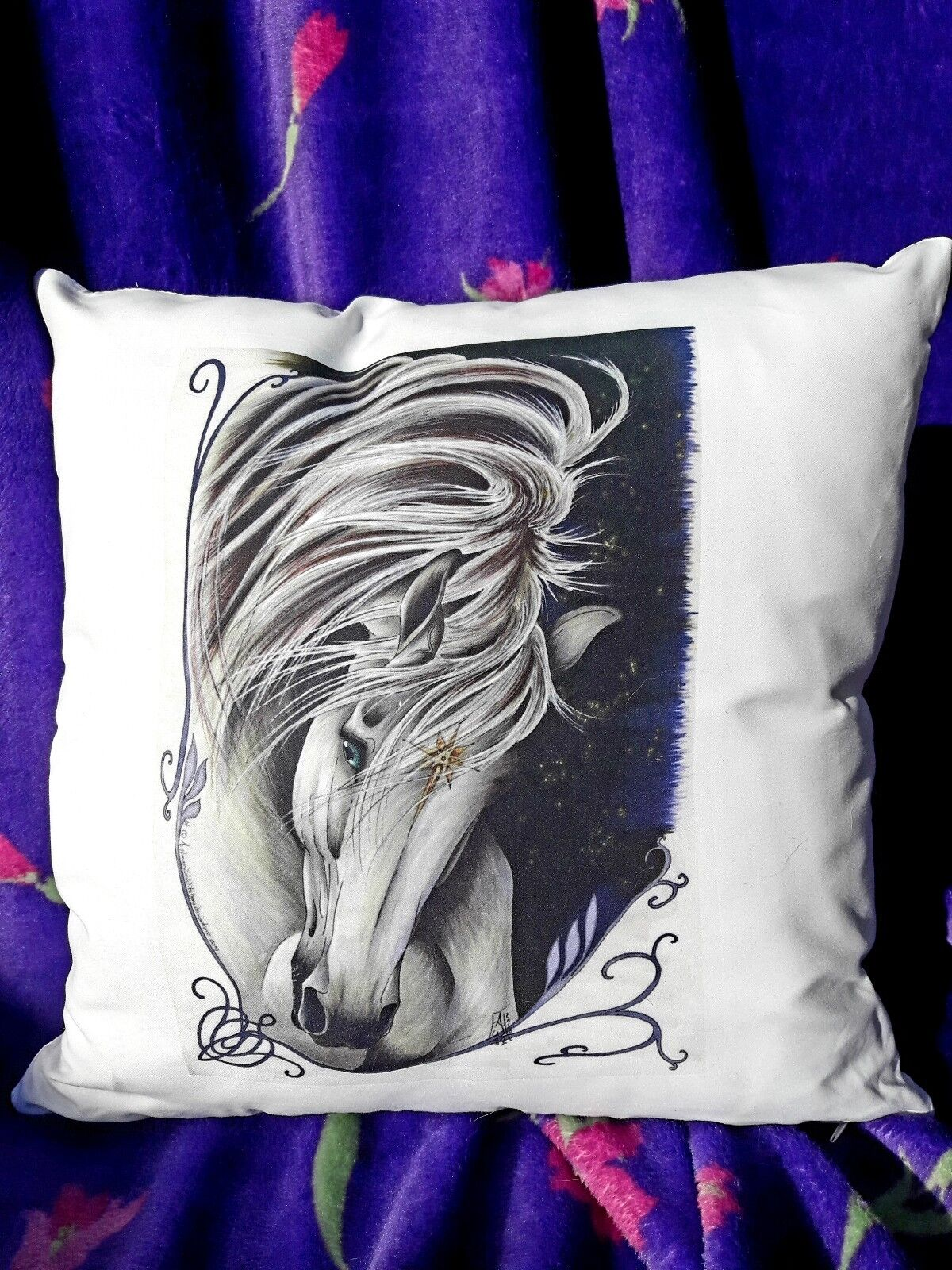 Asfaloth the White Horse decorative pillow, by Artist AndromedasWitchery