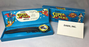 1977-DC-Comics-Dabs-Superman-Super-Hero-Large-Watch-Made-In-Switzerland-Complete