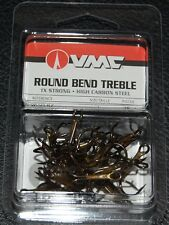 Size 4 10 Hooks Per Pack VMC Round Bend Inline Red Treble Hook Model 5580 TR