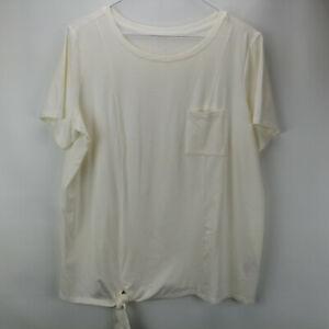 AnyBody Cozy Knit Side Tie T-Shirt Pocket Med Hthr Grey M NEW A353777