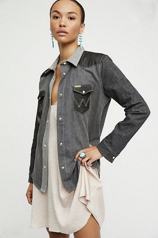Free  People Wrangler X Peter Max nuevo con etiquetas tamaño mediano Western Denim Camisa Nuevo  solo para ti