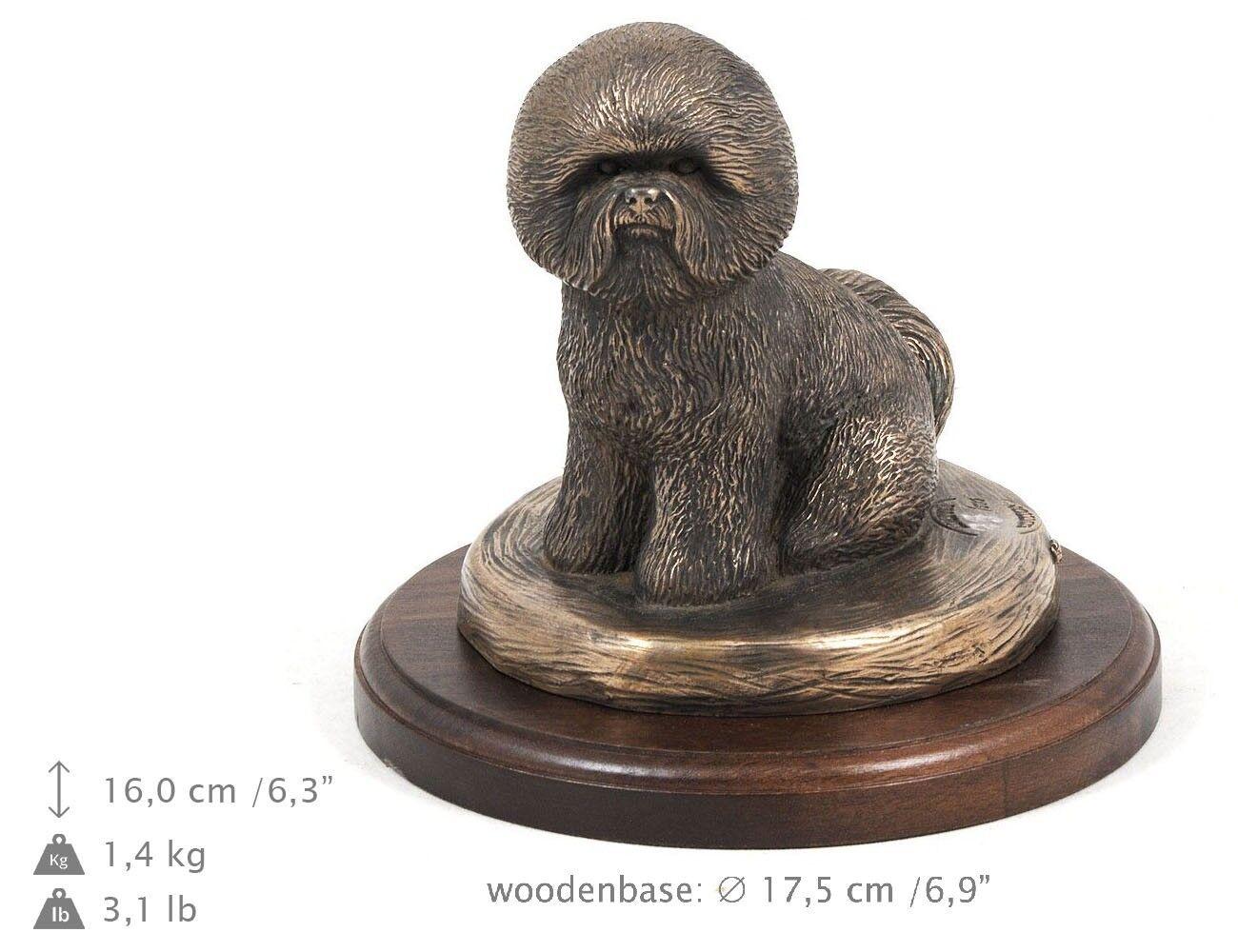 Bichon frisé, busto estatua del perro en una base de madera, edición limitad ES