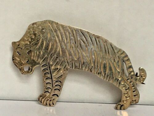 LARGE TAXCO 925 STERLING SILVER TIGER BROOCH  - image 1