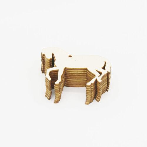 10x Naturholz Ausschnitt Pferd geformt hängende Verzierungen für Parteien