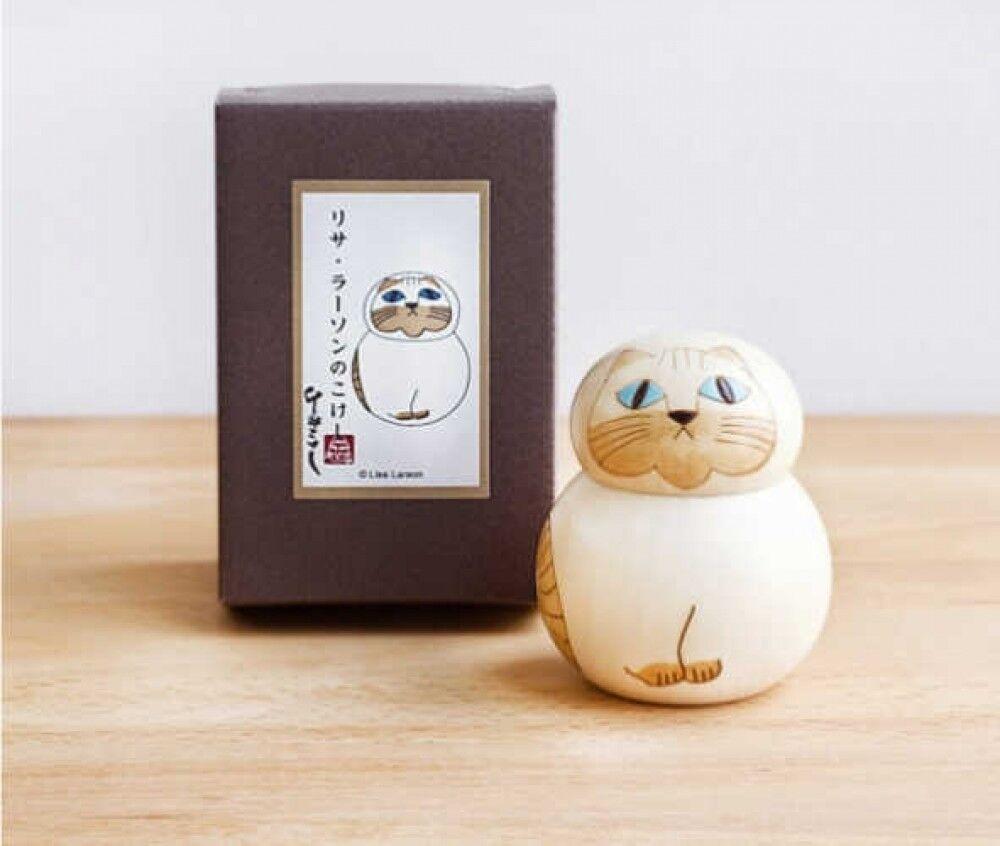 Lisa Larson Ll1115 Giapponese di Legno Kokeshi Mia Limitata Gatto Bianco