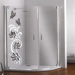 glas dekor aufkleber fenster dusche bad glasdekor blumen dekor, Hause ideen