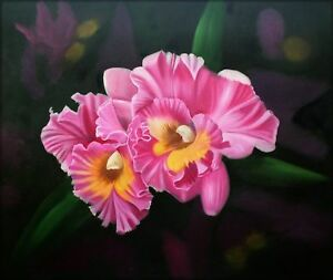 Quality-Hand-Painted-Oil-Painting-Two-Tone-Orchids-20x24in
