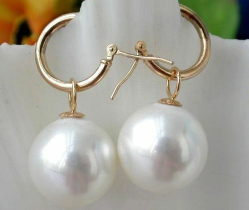 Blanc South Sea Shell Pearl Earring 14K placage or Nouveau 14 mm énorme AAAA