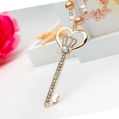 Long Golden Crown Heart Key Chain Pearl Czech Crystal Cloth Accessory Necklace