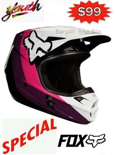 NEW FOX Girls Motocross Helmet Pink Youth Dirt Bike MX Helmet female YM YL Halyn
