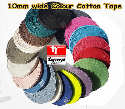 10mm Colour Herringbone Tape Cotton Bunting Webbing Apron Tie Wrap X 10 metres