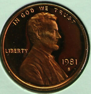 Details about 1981 S Lincoln Penny One-Cent Proof U S  Mint Copper Coin 1c  from Proof Set
