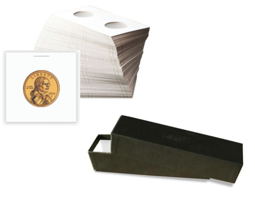 "100-2x2 Cardboard Mylar Coin Holder Flips-Small Dollar PLUS 1 Red 9/"" Storage BOX"