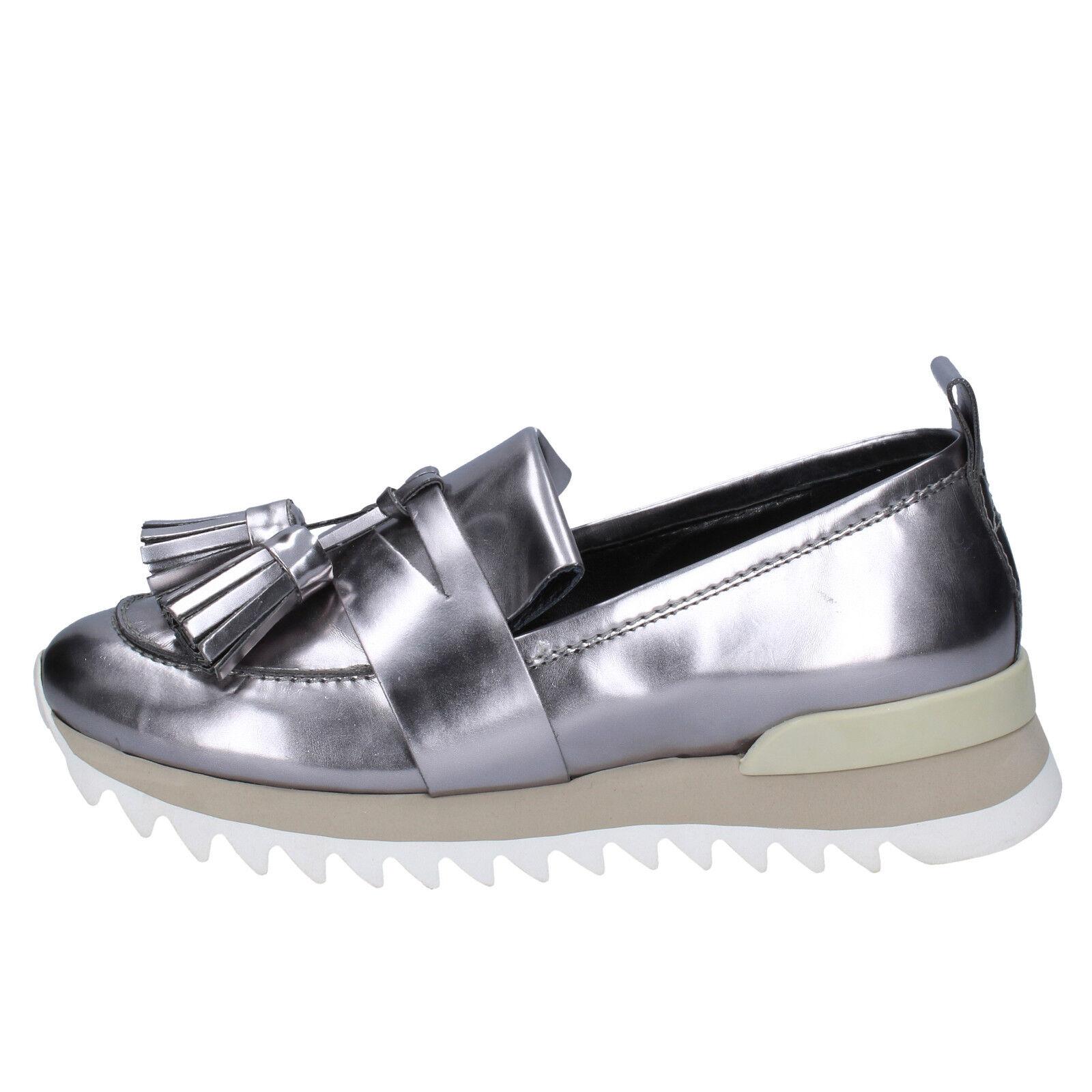 scarpe donna MY GREY MER 40 mocassini argento pelle BX38-40