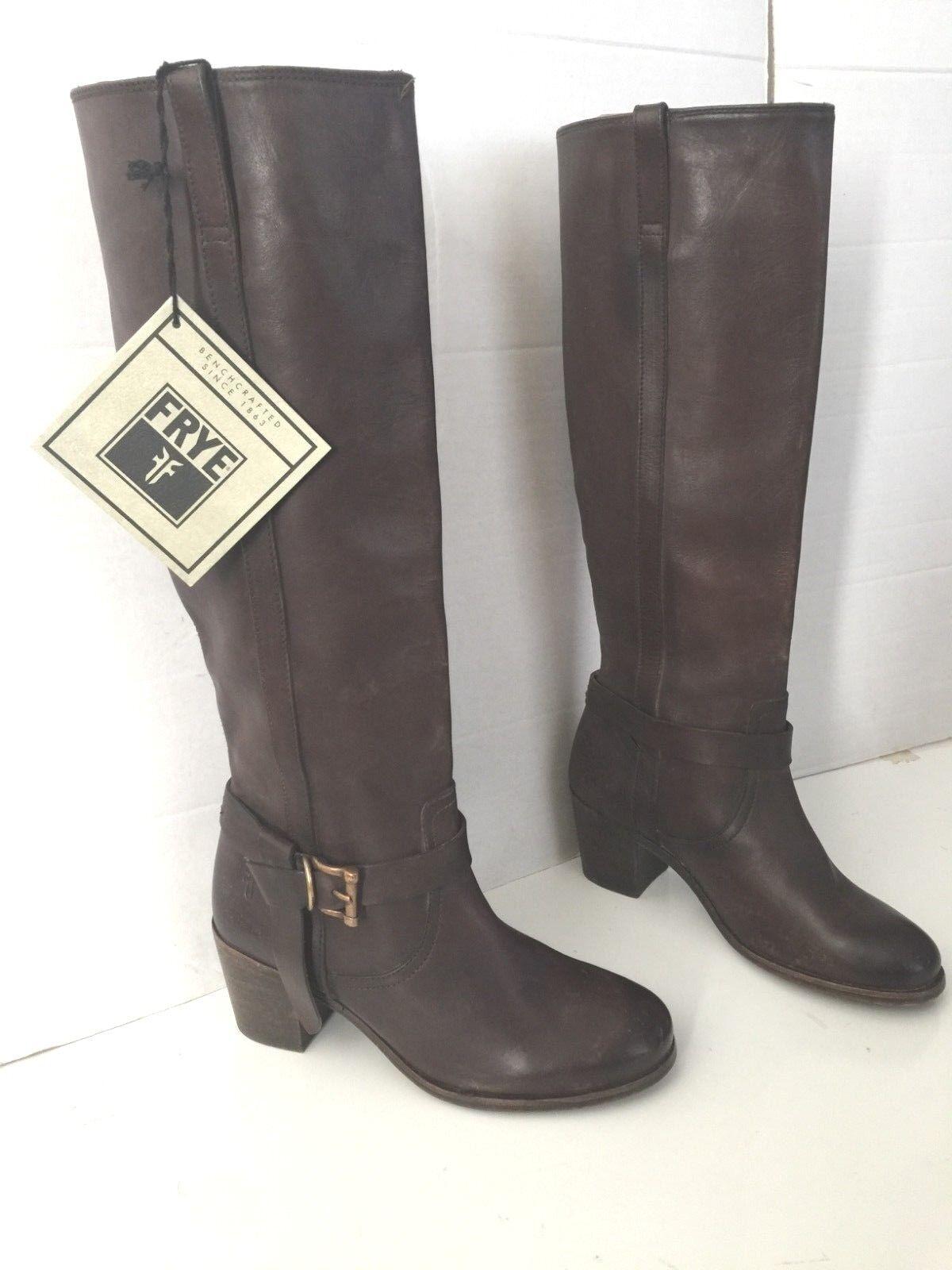 Frye 'Malorie' anudada Hebilla Marrón Oscuro botas 6.5 Altas 6.5 botas 4ebb02